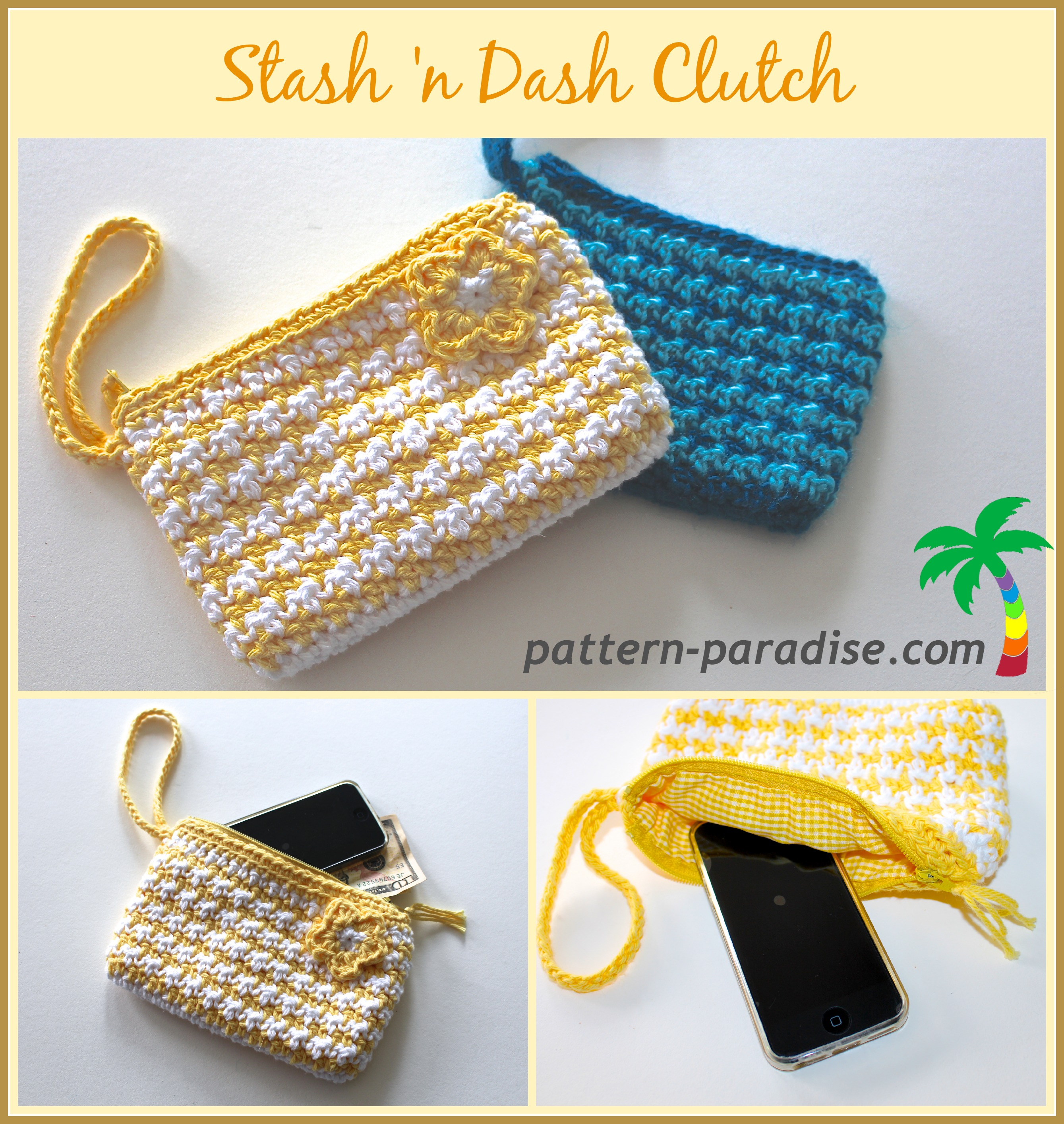 Crochet Clutch Pattern Free : FREE Crochet Pattern - Stash n Dash Clutch Pattern Paradise