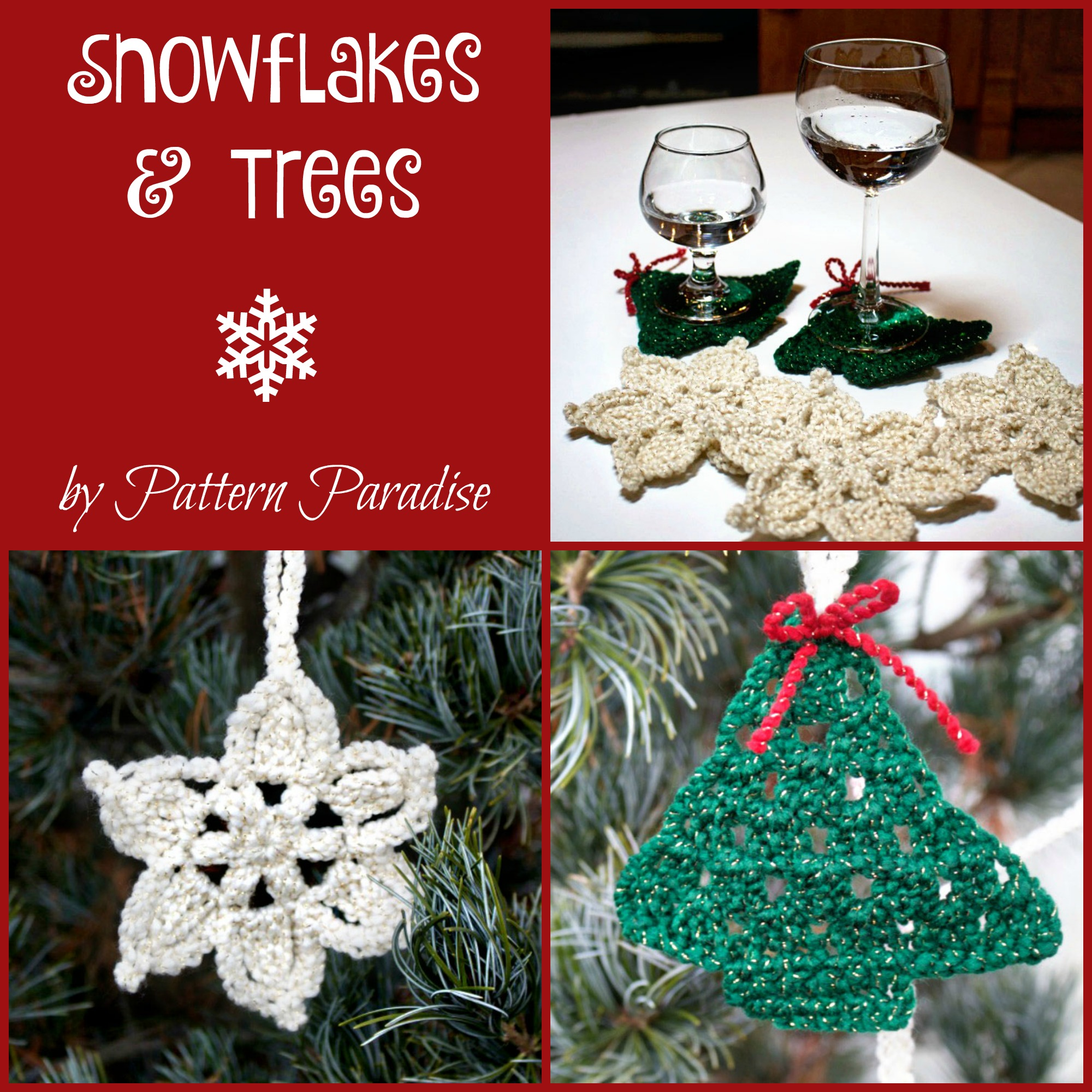 Free Crochet Pattern Snowflakes Amp Trees Coasters
