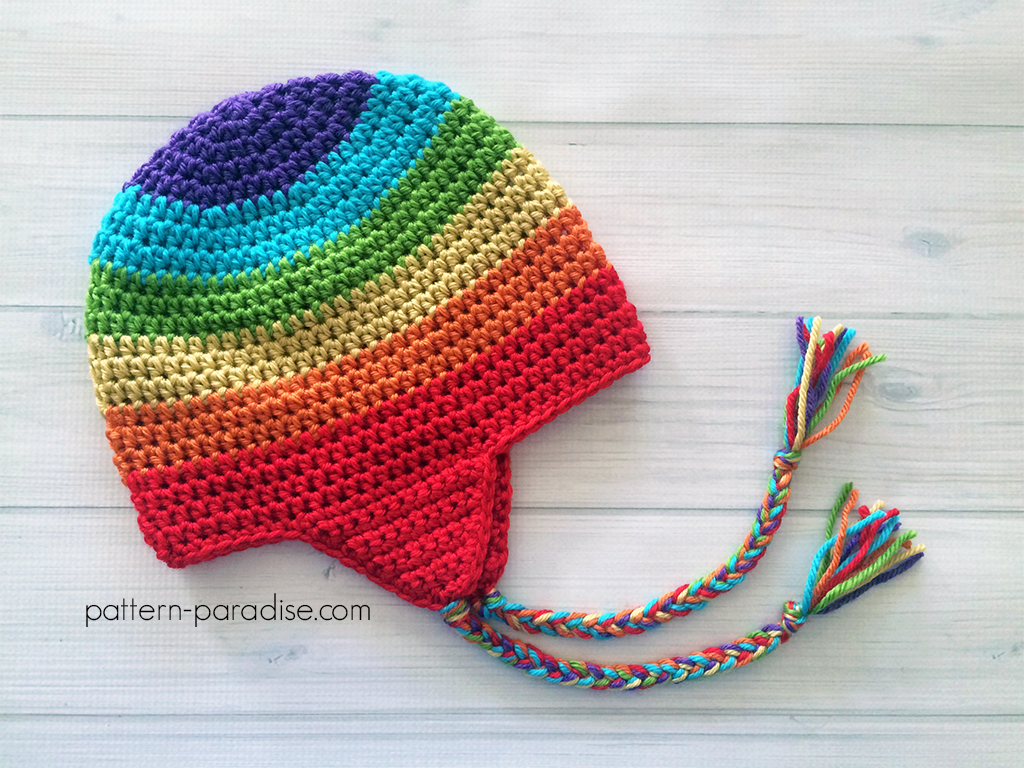 Newborn Crochet Hat Pattern With Ear Flaps : Free Crochet Pattern: Easy Earflap Hat Pattern Paradise
