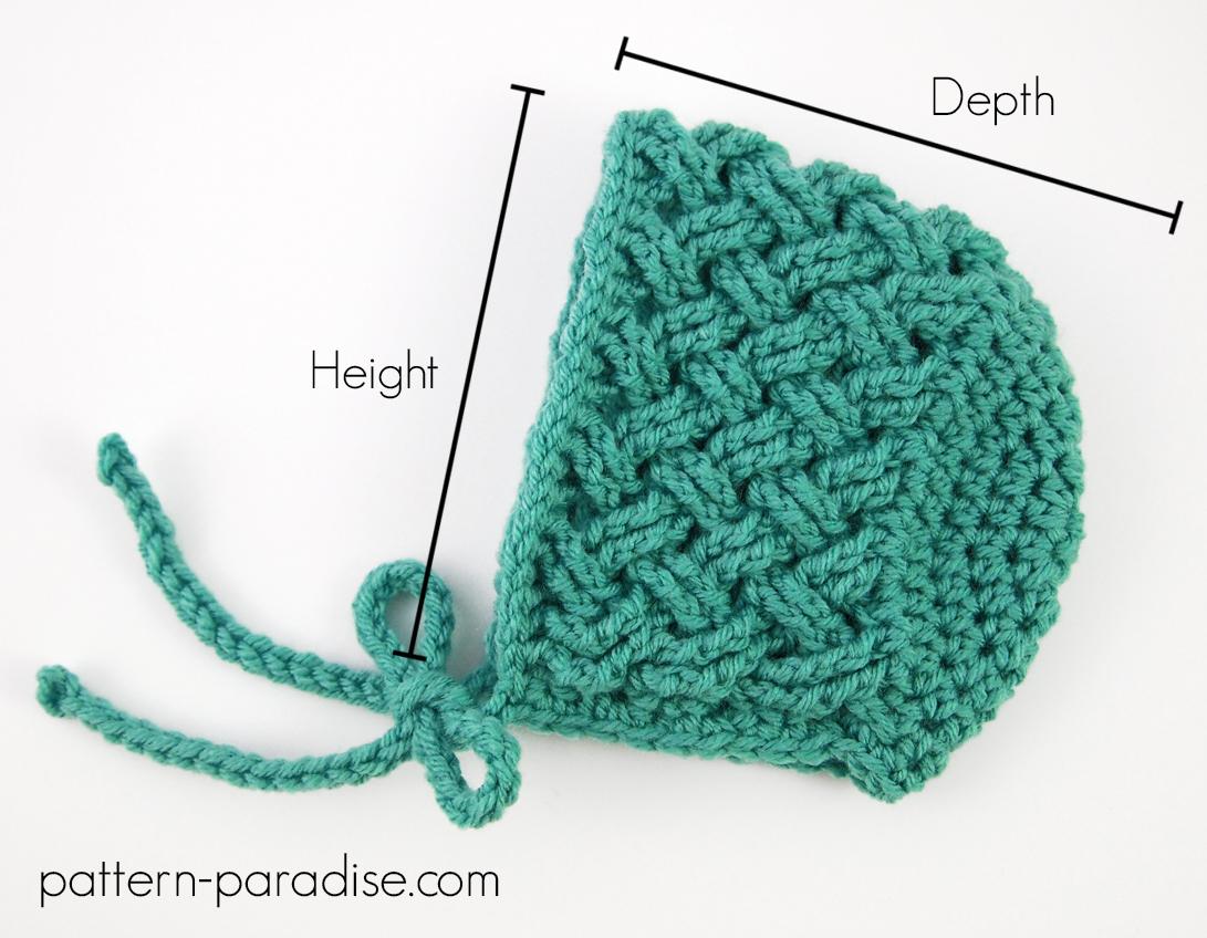Crochet Bonnet Sizing Chart Pattern Paradise