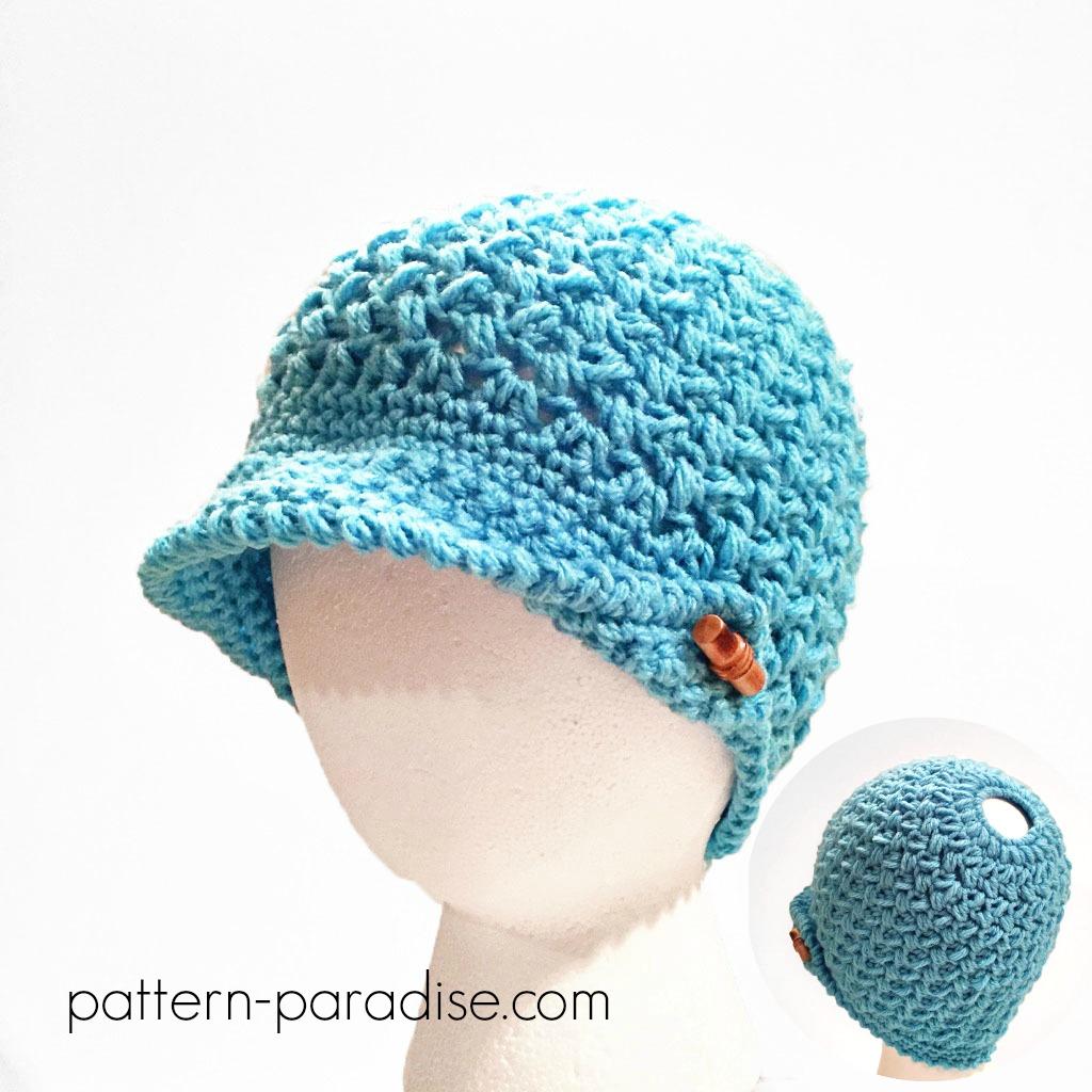 Crochet Pattern Bean Town Beanie Messy Bun Hat